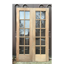 "D16165 - Pair of Pine Interior/Exterior French Doors 48"" x 79-1/4"""