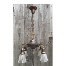 L17001 - Antique Colonial Revival Four Light Hanging Pan Fixture