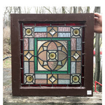 G17001 - Antique Aesthetic Movement Stained Glass Window