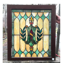 G17002 - Antique Tudor Revival Stained Glass Window