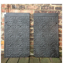 M17001 - Pair of Antique Late Victorian Cast Iron Fireback Plates