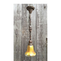 L17014 - Antique Brass Colonial Revival Single Pendant With a Steuben Art Glass Shade