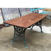 F17009 - Vintage Walnut Victorian/Industrial Style Table with Cast Iron Legs