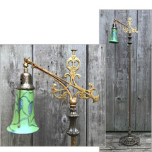L17017 - Antique Tudor Revival Style Brass & Iron Bridge Lamp