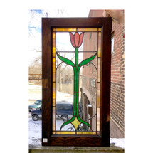G17007 - Antique Arts and Crafts Stained Glass Cabinet Window