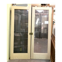 "D17003 - Pair of Vintage Pine Full Light Pocket Doors 60"" x 80"""
