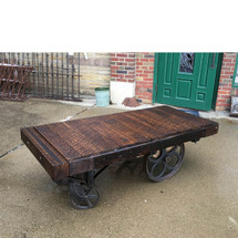 F17012 - Antique Industrial Wood & Cast Iron Cart