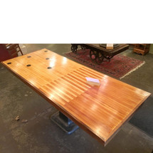 F17014 - Custom Vintage Table With Cast Iron Base and Bowling Lane Wood Top