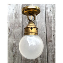 L17033 - Antique Nautical Brass Ship Light With Etched Globe