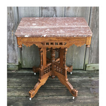 F17023- Antique Eastlake Marble Top Parlor Center Table