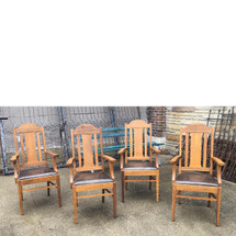 F17029 - Set of Four Antique Arts and Crafts Dining Room Armchairs