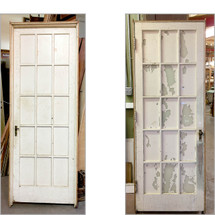 "D17037 - Single Antique Interior  Oak French Door in Jamb 30"" x 83"""