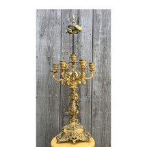 L17069 - Antique French Gilded Candelabra Table Lamp