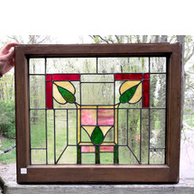 G17028 - Antique Arts and Crafts Stained Glass Window