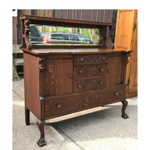 F17034 - Antique Colonial Revival Quartersawn Oak Sideboard