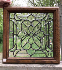 G17031 - Vintage Beveled Glass Cabinet Door in Oak Frame