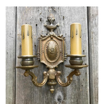 L17079 - Antique Cast Brass Colonial Revival Style Sconces