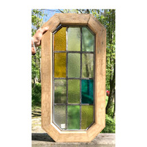 G17033 - Antique Tudor Revival Style Stained Glass Window