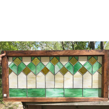 G17044 - Antique Arts & Crafts Stained Glass Transom Window