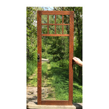 """G17043 - Antique Arts and Crafts Oak """"Stickley Bros"""" Glass Cabinet Doors with Hardware"""