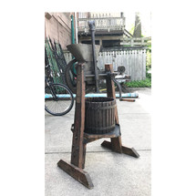A17028 - Antique Oak and Cast Iron Wine Press