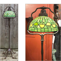 L17096 - Reproduction Tiffany Style Cast Bronze & Leaded Glass Floor Lamp