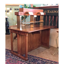 F17041 - Antique Mahogany & Brass Library Desk/Station