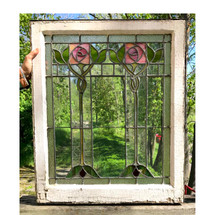 G17045 - Antique Arts & Crafts Leaded Glass Window