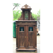 F17048 - Antique Art Nouveau Walnut Dressing Cabinet with Stained Glass Doors