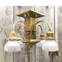 L17125 - Antique Arts and Crafts Four Light Semi Flush Mount Fixture