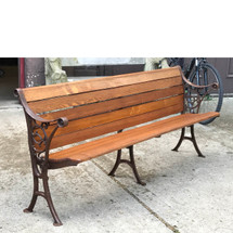 F17061 - Antique Late Victorian Cast Iron and Oak Pew Bench with Folding Seat