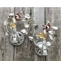 L17134 - Pair of Antique Candle- Arm Wall Sconces