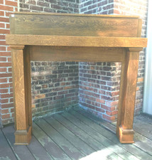 M17013 - Antique Arts and Crafts Quartersawn Oak Half Mantel