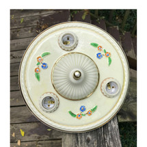 L17141 - Antique Ceramic Bare Bulb Flush Mount Light Fixture