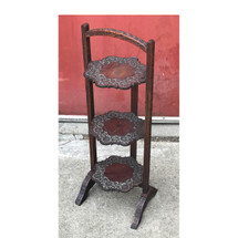 F17076 - Antique Carved Teak Three Tier Folding Stand