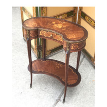 F17079 - Antique Mahogany French Style Marquetry Kidney Table