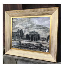 A17051 - Antique Ink and Watercolor Paris Scenic in Vintage Frame