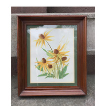 A17052 - Antique Hand Painted Botanical Block Print in Frame