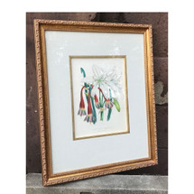 A17054 - Antique Hand Painted Botanical Block Print in Frame