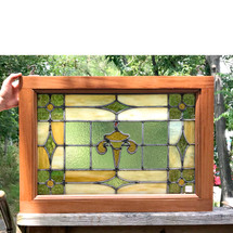 G17052 - Antique Tudor Revival Stained Glass Window in Mahogany Frame
