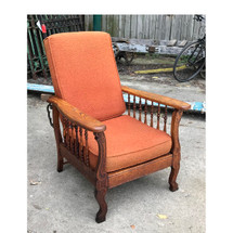 F17083 - Antique Oak Early Colonial Revival Morris Style Reclining Chair