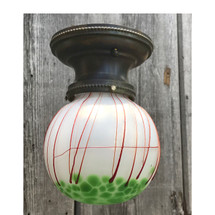 L17156 - Antique Colonial Revival Flush Mount Fixture with Loetz Art Glass Globe