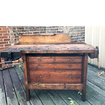 F17086 - Antique Maple Industrial Wood Worker's Bench