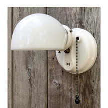 L17165 - Antique Art Deco Porcelain Bathroom Sconce