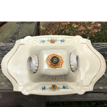 L17169 - Antique Tudor Porcelain Two Light Bare Bulb Flush Mount Fixture