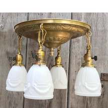 L17180 - Antique Colonial Revival Four Light Flush Mount Pan Fixture