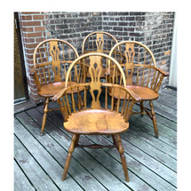 F17091 - Antique Set of Four Birch Windsor Chairs