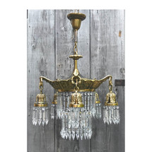 L17187 - Antique Colonial Revival Style Brass & Crystal Five Arm Fixture