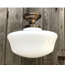 L17207 - Antique Schoolhouse Shade on Brass Flush Mount Fixture