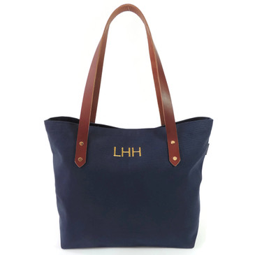 Monogrammed Navy Canvas Market Tote